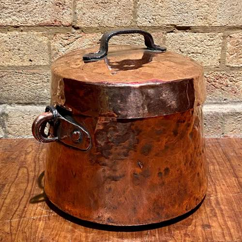Antique Copper Cooking Pot with Lid image-2