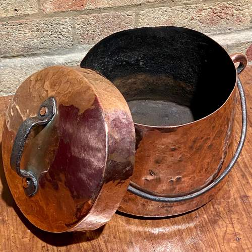 Antique Copper Cooking Pot with Lid image-4