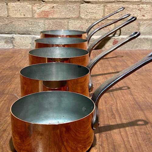 Vintage Set of Five Heavy French Copper Pans image-2