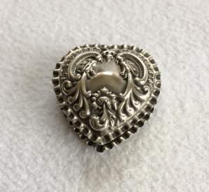 Adie and Lovekin Edwardian Heart-Shaped Silver Pill Box