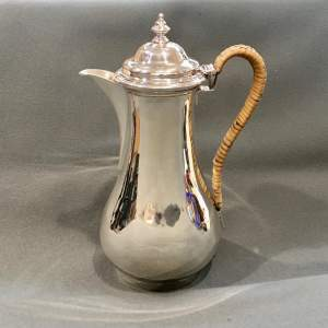 George V Silver Coffee Pot with Rattan Handle