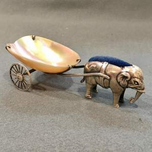George V Silver Elephant Pin Cushion with Mother of Pearl Cart
