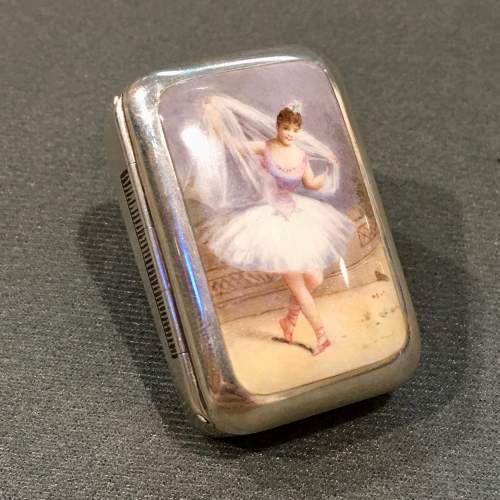 Victorian Silver and Enamel Ballerina Vesta Case image-1