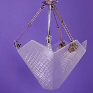 A Silver Plated 1930s Art Deco Light Fitting with Frosted Cut Glass Shade