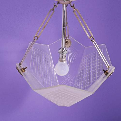 A Silver Plated 1930s Art Deco Light Fitting with Frosted Cut Glass Shade image-4