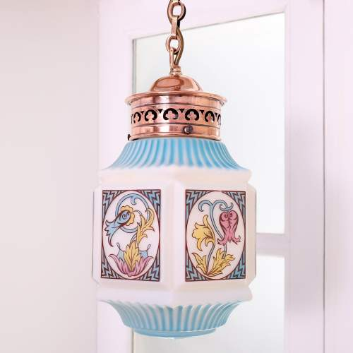 1920s Opaline and Coloured Glass Hanging Pendant Light image-1