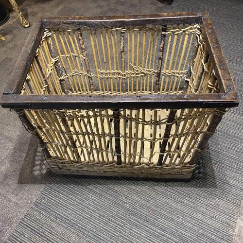 1920s French Mill Basket On Wheels Unusual Piece Hard To Find image-1