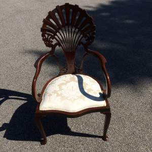 Edwardian Mahogany Armchair with Fan Shaped Back
