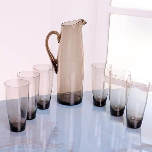 1960s Scandinavian Smoked Glass Pitcher and Cordial Glasses image-1