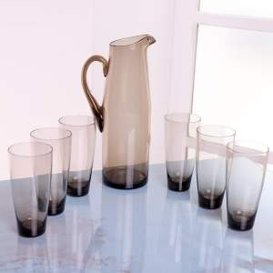 1960s Scandinavian Smoked Glass Pitcher and Cordial Glasses