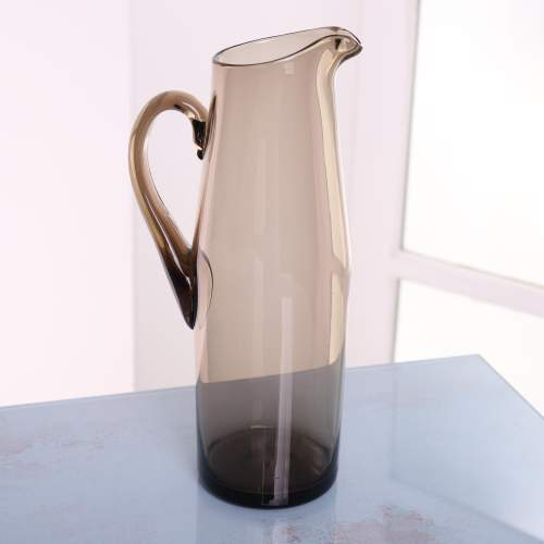 1960s Scandinavian Smoked Glass Pitcher and Cordial Glasses image-2