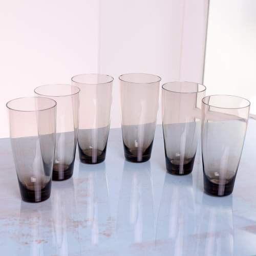 1960s Scandinavian Smoked Glass Pitcher and Cordial Glasses image-3