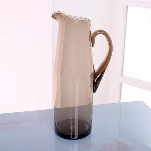 1960s Scandinavian Smoked Glass Pitcher and Cordial Glasses image-5