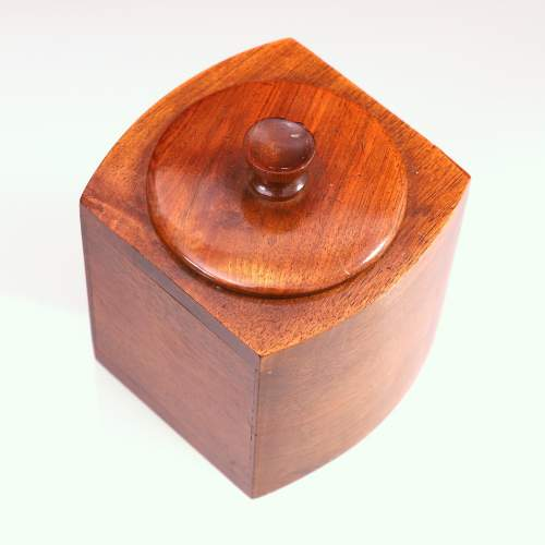 Art Deco Walnut Bow Fronted Tea Caddy image-5