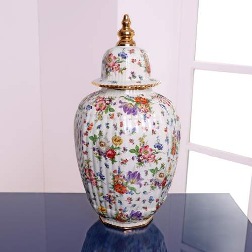 Fluted Octagonal Ginger Jar and Cover with Chintz Floral Decoration image-1