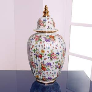 Fluted Octagonal Ginger Jar and Cover with Chintz Floral Decoration