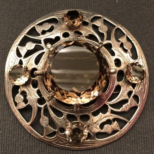 20th Century Fine Silver and Smokey Quartz Plaid Brooch image-1