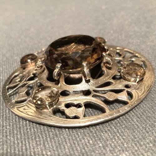 20th Century Fine Silver and Smokey Quartz Plaid Brooch image-2