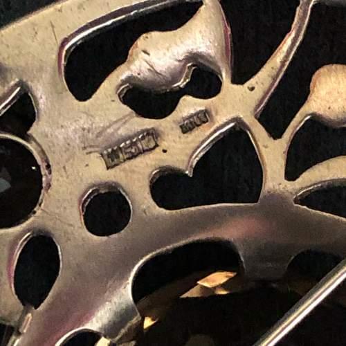 20th Century Fine Silver and Smokey Quartz Plaid Brooch image-6