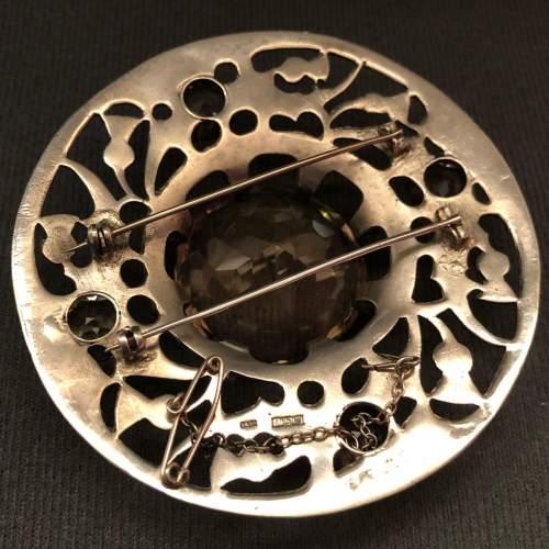 20th Century Fine Silver and Smokey Quartz Plaid Brooch image-5
