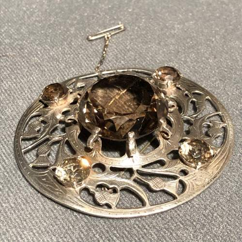20th Century Fine Silver and Smokey Quartz Plaid Brooch image-4