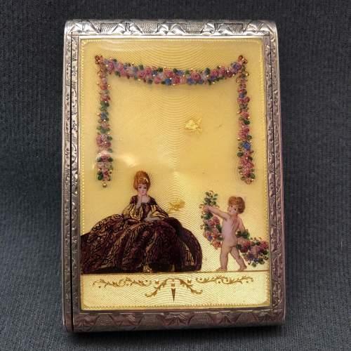 20th Century Fine Sterling Silver and Enamel Cigarette Case image-1