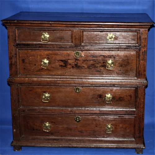 A Good Early Oak Splitter Chest of Drawers image-1