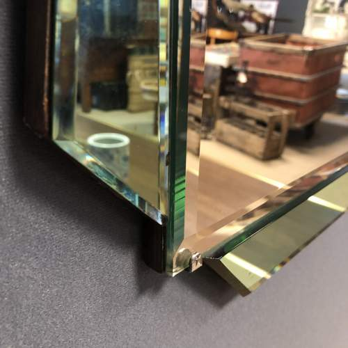 Art Deco Green and Clear Glass Wall Mirror image-4
