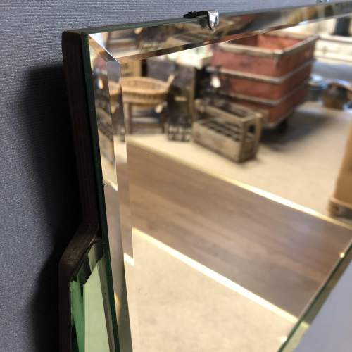 Art Deco Green and Clear Glass Wall Mirror image-5