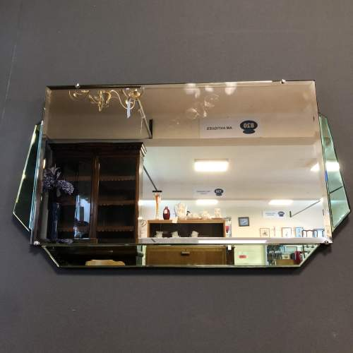 Art Deco Green and Clear Glass Wall Mirror image-6