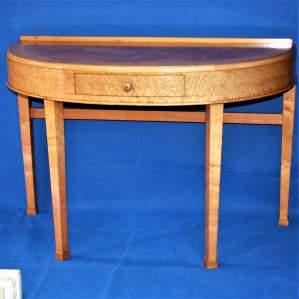 Art Deco Birds Eye Maple Demi Lune Side Table