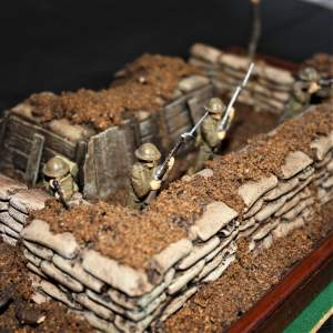 Diorama of the Trenches in Glass Case