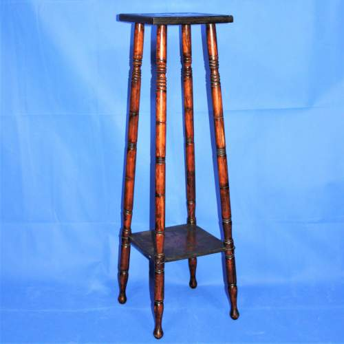 Early 20th Century Plant Stand with Poker Work Carved Top image-1