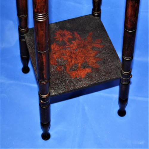 Early 20th Century Plant Stand with Poker Work Carved Top image-2