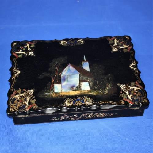 19th Century Black Lacquer Writing Box image-1