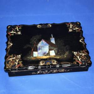 19th Century Black Lacquer Writing Box