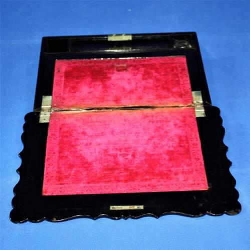 19th Century Black Lacquer Writing Box image-2