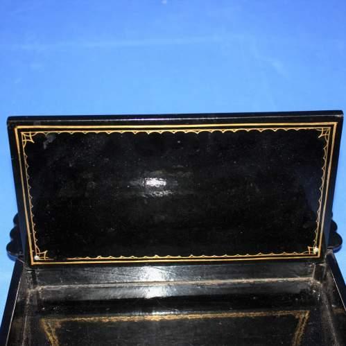 19th Century Black Lacquer Writing Box image-4