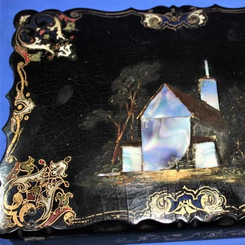 19th Century Black Lacquer Writing Box image-5
