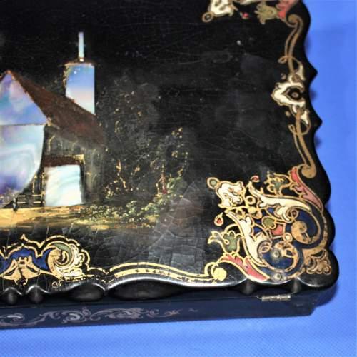 19th Century Black Lacquer Writing Box image-6