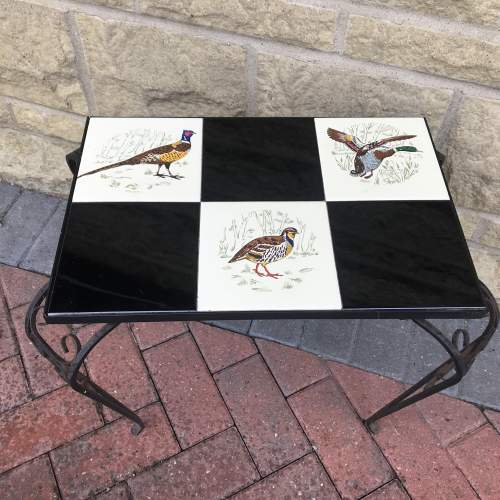 A French Ornate Metal Table with Bird Decoration to the Top image-2