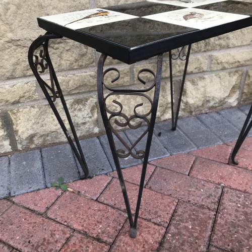 A French Ornate Metal Table with Bird Decoration to the Top image-4