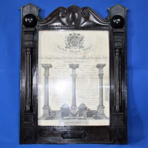 Masonic Grand Lodge Certificate dated and signed Ebonised Frame