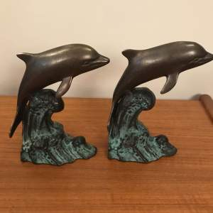A Pair of Bronze Dolphins
