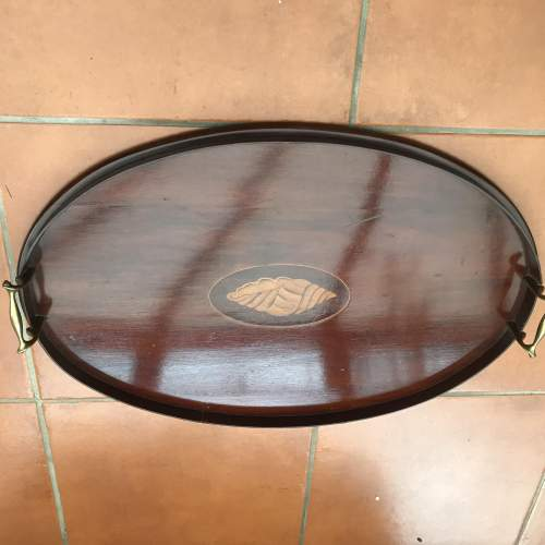 Edwardian Inlaid Mahogany Oval Tray image-2