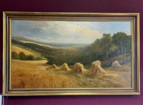 Daniel Sherrin Signed Oil on Canvas Landscape Painting with Haystacks image-6