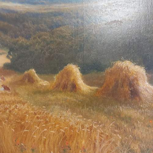 Daniel Sherrin Signed Oil on Canvas Landscape Painting with Haystacks image-2