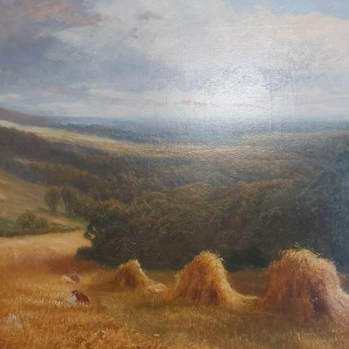 Daniel Sherrin Signed Oil on Canvas Landscape Painting with Haystacks image-4