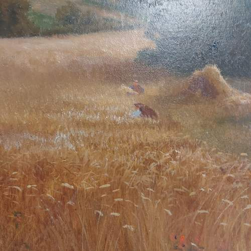 Daniel Sherrin Signed Oil on Canvas Landscape Painting with Haystacks image-3