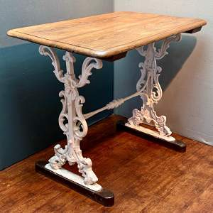 Victorian Pitch Pine Topped Iron Based Table